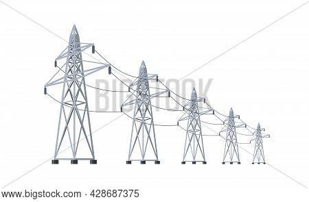High Voltage Electricity Distribution Grid Pylons. Flat Vector Illustration Of Utility Electric Tran