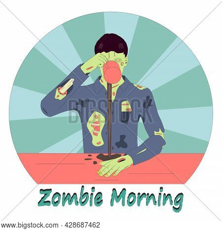 Coffee Drinker Zombie Sticker. The Zombie Is Trying To Drink Coffee Is A Symbol Of Sleepy People In