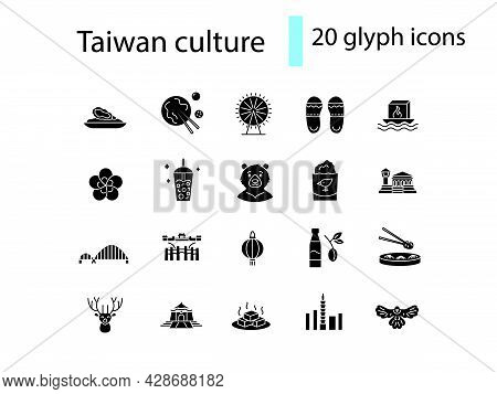 Culture Of Taiwan Glyph Icons Set. Taiwanese Items. Elements For Travel Agent And Guide. Black Fille