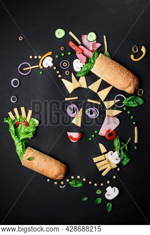 Sandwich Ingredients Pattern. Creative Layout Of Ingredients On Black Background. Space For Text. To