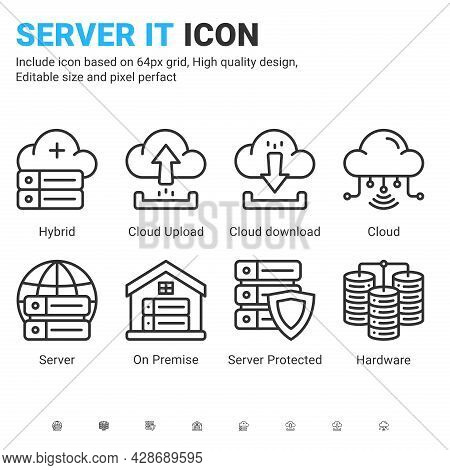 Server It And Technology Icon Set. Editable Stroke. With Line Style On Isolated White Background. Se