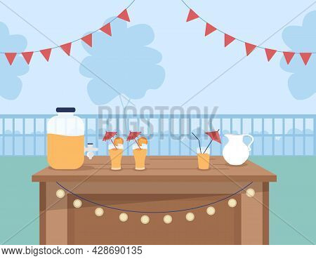Cocktail Party Venue Flat Color Vector Illustration. Serving Mixed Summertime Drinks. Place For Soci