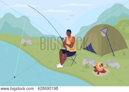 Catching Fish In Pond Flat Color Vector Illustration. Fishing For Huge Rainbow Trout. Relaxing Recre