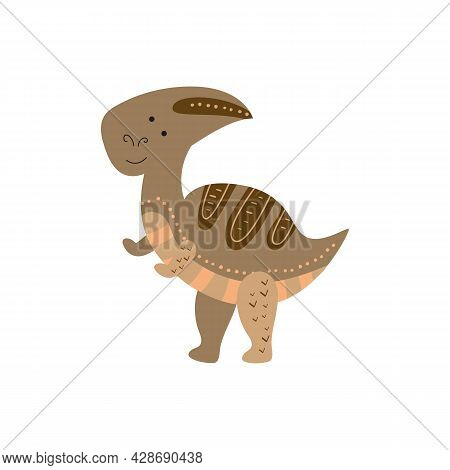 Illustration Dinosaur Parasaurolophus In The Style Of A Cartoon. An Isolated Object On A White Backg