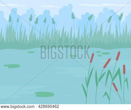 Pond Surrounded By Reed Grass Flat Color Vector Illustration. Floating Water Lilies. Place For Relax