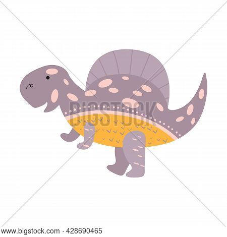 Illustration Dinosaur Spinosaurus In The Style Of A Cartoon. An Isolated Object On A White Backgroun