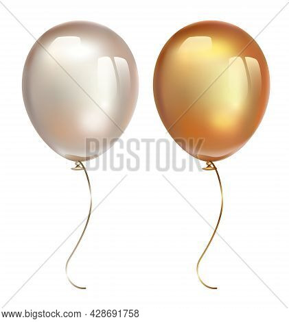 Inflatable Air Flying Balloons Isolated On White Background. Gold And Pearl Balloon With Reflects. R