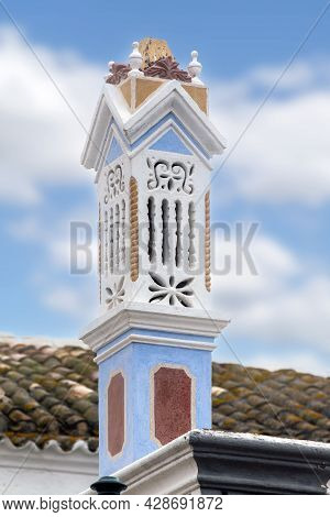 View Of The Traditional Portuguese Algarve Chimney, With Beautiful Design Details.