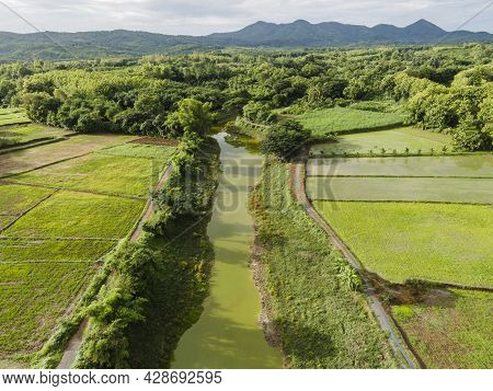Aerial View Field Environment Forest Nature Agricultural Farm Mountain Background, River And Green T