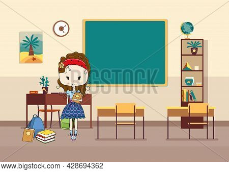 Classroom With Pupil. Primary School Kid. Modern Interior For Education. Girl Character Ready To Stu