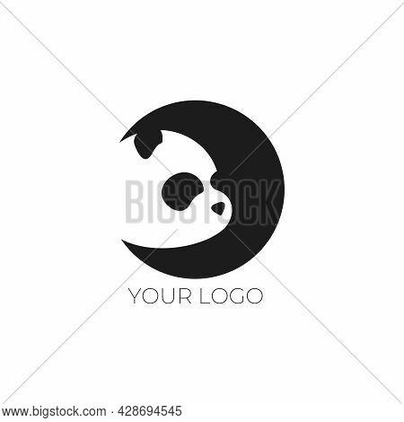 Panda In The Moon. Vector Illustration With Panda. Panda Logo. Children's Logo. Logo For A Shop, Caf