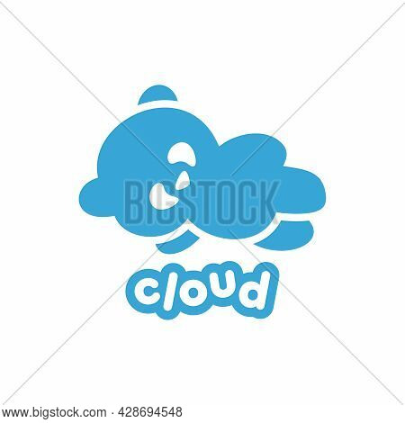 Logo With A Cloud In The Form Of A Bear. Panda Logo. Logo For A Shop, Cafe, Art Space, School, Kinde