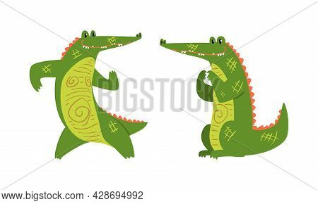 Funny Green Crocodile With Toothy Smile Sitting And Dancing Vector Set