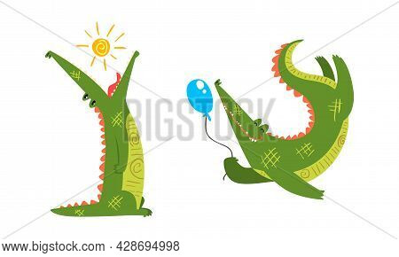 Funny Green Crocodile With Toothy Smile Holding Balloon And Swallowing Sun Vector Set