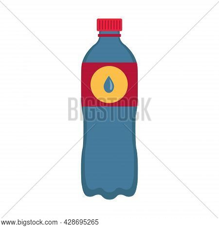 Plastic Bottle Of Still Water Flat Illustration. Container With Refreshing Energetic Drink.  Can Be