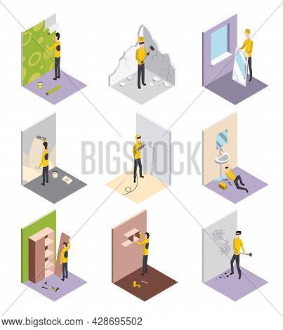 Set Of Isometric Workers. Home Repair Isometric Form With Craftsmans Who During Various Building Wor