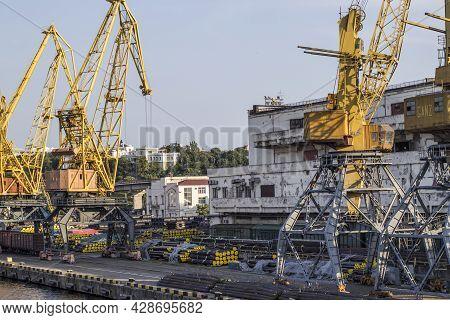 Ukraine, Odessa, Summer 2021. Sea Industrial Commercial Port. Container Terminal. Cargo Container Te