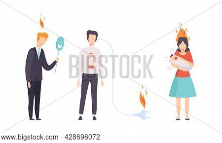 Burn Out Stressed Man And Woman Feeling Fatigue And Exhaustion With Plug Off And Carrying Crying Bab