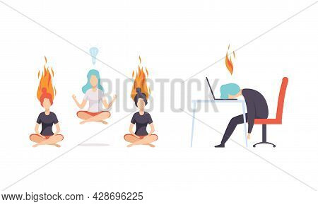 Burn Out Stressed Man And Woman Feeling Fatigue And Exhaustion Sitting At Table And Doing Yoga Vecto