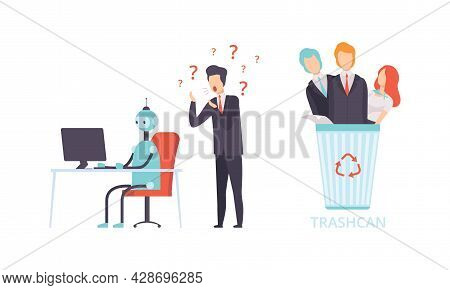 Robot Replacing Man And Woman Character In Office Work Throwing Them In Trash Bin Vector Set