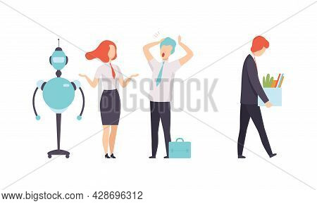 Robot Replacing Man And Woman Character In Office Work Vector Set