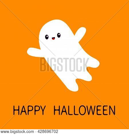 Happy Halloween. Flying Ghost Spirit With Hands. Scary White Ghosts. Cute Cartoon Spooky Character.