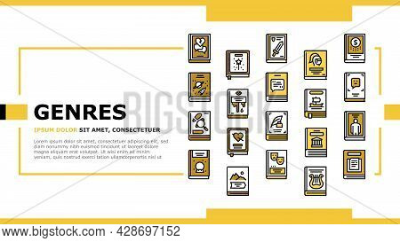 Literary Genres Books Landing Web Page Header Banner Template Vector. Drama And Fairy Tale, Fantasy