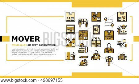 Mover Express Service Landing Web Page Header Banner Template Vector. Mover Worker Delivery Cardboar