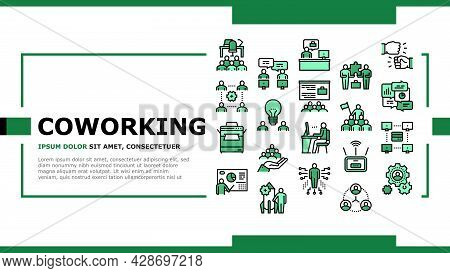Coworking Service Landing Web Page Header Banner Template Vector. Coworking Working Place And Confer