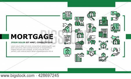 Mortgage Real Estate Landing Web Page Header Banner Template Vector. Mortgage Agreement Contract Sig