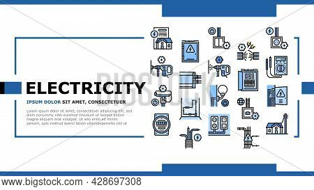 Electrical Installation Tool Landing Web Page Header Banner Template Vector. Socket And Substation A