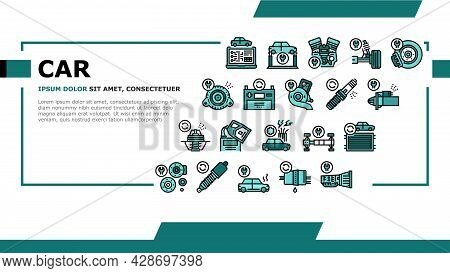 Car Service Garage Landing Web Page Header Banner Template Vector. Car Service Repair Ball Joint And
