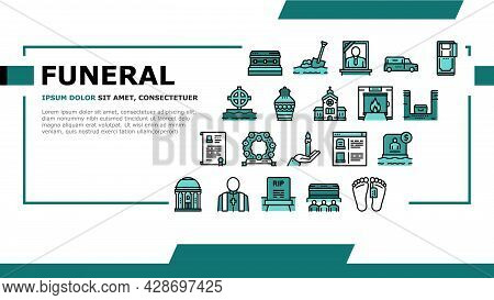 Funeral Burial Service Landing Web Page Header Banner Template Vector. Church And Priest, Grave And