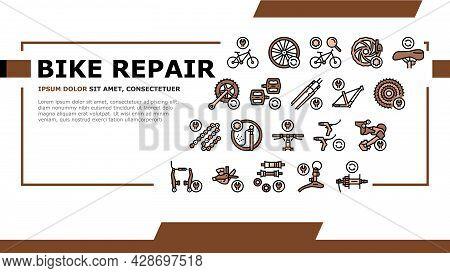 Bike Repair Service Landing Web Page Header Banner Template Vector. Complex Bike Repair And Setting,