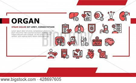 Organ Donation Medical Landing Web Page Header Banner Template Vector. Liver And Lungs, Heart And Br