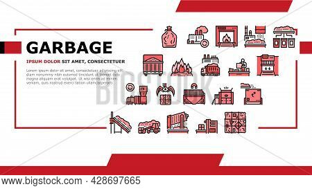 Factory Garbage Waste Landing Web Page Header Banner Template Vector. Industry Plant Recycling And B