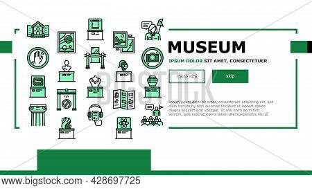 Museum Gallery Exhibit Landing Web Page Header Banner Template Vector. Museum Building And Paint, Sc