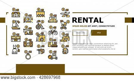 Rental Service Business Landing Web Page Header Banner Template Vector. House And Apartment, Car And