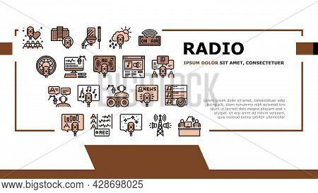 Radio Studio Podcast Landing Web Page Header Banner Template Vector. Auto Radio And News, Advertisin
