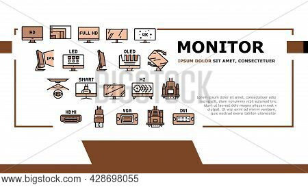 Computer Pc Monitor Landing Web Page Header Banner Template Vector. Full Hd And 4k Resolution, Oled,
