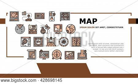 Map Location System Landing Web Page Header Banner Template Vector. Map Location And Gps Satellite N