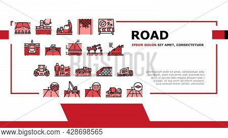 Road Construction Landing Web Page Header Banner Template Vector. Gravel Crushed Stone Road And Asph