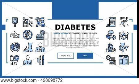 Diabetes Treatment Landing Web Page Header Banner Template Vector. Blood Sugar Measurement And Contr