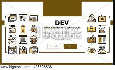Dev Code Occupation Landing Web Page Header Banner Template Vector. Dev Application And Software, Ha