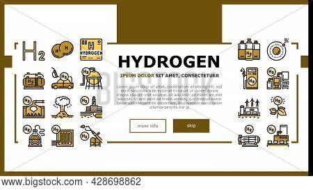 Hydrogen Industry Landing Web Page Header Banner Template Vector. Hydrogen Eco Energy Industrial Pla