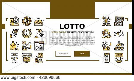 Lotto Gamble Game Landing Web Page Header Banner Template Vector. Lotto Ticket And Ball, Winner Winn