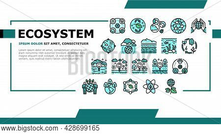 Ecosystem Environment Landing Web Page Header Banner Template Vector. Ecosystem And Ecology, Biodive