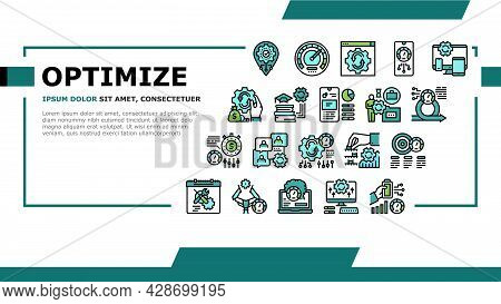 Optimize Operations Landing Web Page Header Banner Template Vector. Optimize Internet Speed And Elec