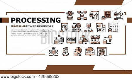 Digital Processing Landing Web Page Header Banner Template Vector. File Compression And Visualizatio