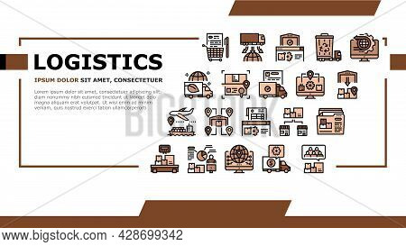 Logistics Business Landing Web Page Header Banner Template Vector. Ship And Airplane Shipment, Eco D